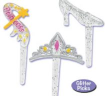 Princess Crown, Wand and Glass Slipper Cupcake Toppers
