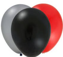Black Red Silver latex balloons