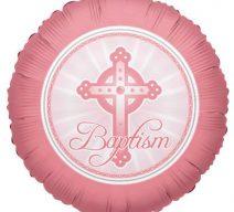 Pink Cross Baptism Balloon