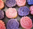 pink and purple rose cupcakes