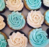 Turquoise and White Roses Wedding Cupcakes