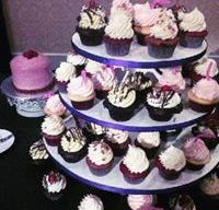 Wedding Cupcake Tower with Custom Raspberry Cutting Cake