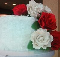 Cutting Cake with Silk Roses
