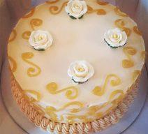 Custom Gold Accent Cutting Cake