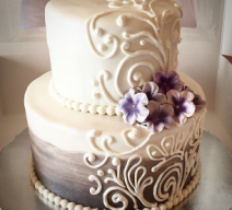 Wedding Cake with piping lavendar flowers