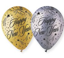 happy new year gold silver latex balloons