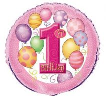 Pink 1st Birthday mylar balloon