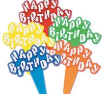 Happy Birthday Sign Cupcake Toppers
