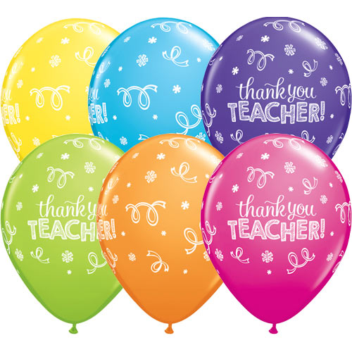 Thank You Teacher Latex Balloons Assorted Colors