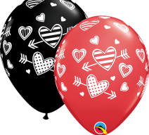 red and black latex balloons with hearts and arrows