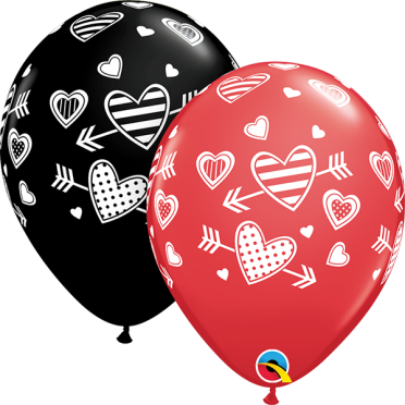 cupids mark latex balloons with hearts and arrows balloon delivery