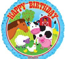 happy birthday farm animals balloon