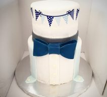 Bowtie Baby Shower Cake