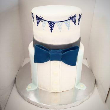 Bowtie Baby Shower Cake