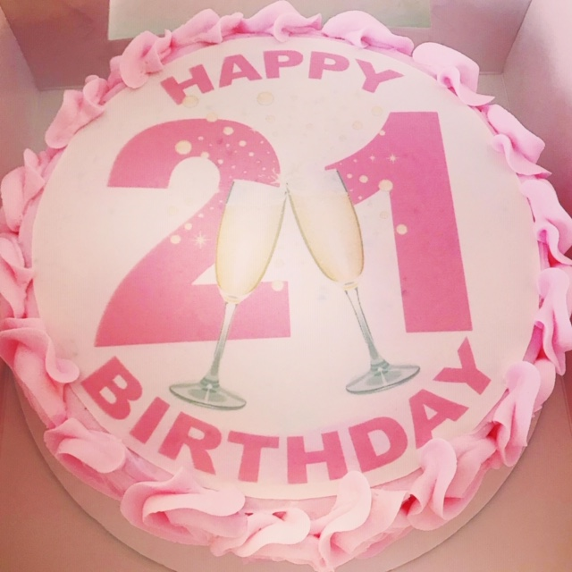 Fabulous Pink Or Blue 21St Birthday Cake The Cupcake Delivers Funny Birthday Cards Online Hendilapandamsfinfo